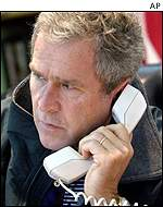 George Bush on phone to Russian president