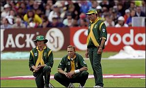 Klusener and Donald look on, unaware of the storm to follow