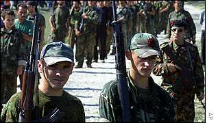 Ethnic Albanian rebels approach NATO forces at Radusa, 20 September