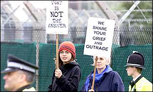 Protesters at the United States Air Force base at Lakenheath, Suffolk