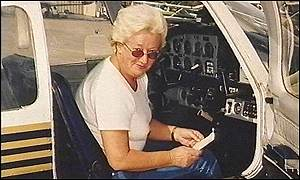 Anne Greaves in a training plane in Florida