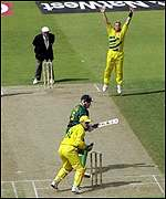 Shane Warne claims the wicket of Hansie Cronje
