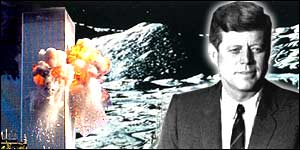 Montage of JFK,  the moon landing and the New York explosion