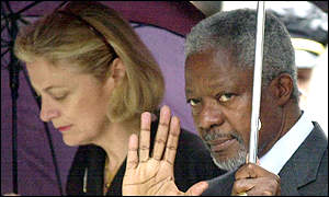Kofi Annan and his wife Nane arrive for a memorial service in New York