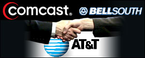 Graphic featuring logos for AT&T, Comcast and BellSouth