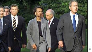 President Bush with Condoleezza Rice and other advisers