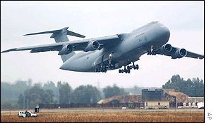A US Army C-5 Galaxy airplane taking off from a base in southern Spain
