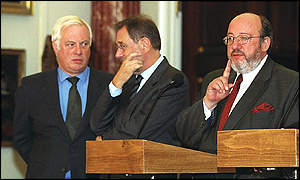 From right: Belgian Foreign Minister Louis Michel, EU foreign policy chief Javier Solana and EU Commissioner for External Relations Chris Patten