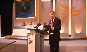 Liberal Democrat leader Charles Kennedy addresses the party conference on Monday