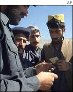 Pakistan border police checking documents