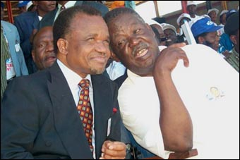 President Frederick Chiluba (left) with former National Secretary of MMD, Michael Sata