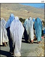 Afghan women crossing the border into Pakistan