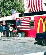 A flag-draped McDonald's