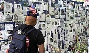 Photos of those missing in the World Trade Center outside Bellevue Hospital, New York