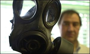Steve Sorockyi of Anchor Supplies, Nottingham, who has sold over 1,000 gas masks since the attacks on America