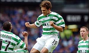 Celtic's Stilian Petrov celebrates his opening goal