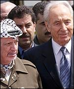 Yasser Arafat and Shimon Peres meeting in Gaza International airport