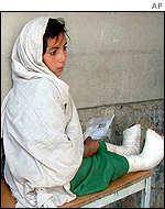 A girl waits for treatment in Kabul, Afghanistan