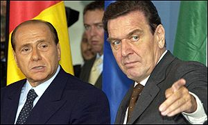 Silvio Berlusconi and Gerhard Schroeder