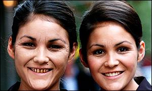 Twins, 22, made up to show how they would look at 40 if Kirsty, left, was a smoker and Kelly, right, was not