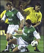 Francisco Luna (left) scored twice for Hibs
