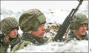 Russian Interior Ministry troops in a trench 25 kilometres south of Grozny