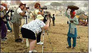 Foreign tourists at the Pushkar fair, Rajasthan