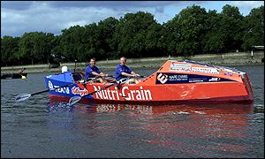 Britain's Comonte brothers in the trans-Atlantic rowing craft