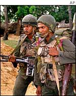 Soldiers patrol the Jaffna peninsula
