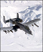 A-10 over snowscape