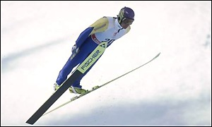 Ernst Vettori of Austria winning the gold medal in the 70m ski jump
