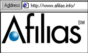 Screen grab from the Afilias homepage