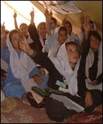 Afghan refugees in a makeshift school
