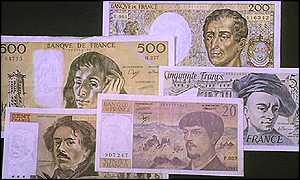 A display of French franc banknotes