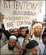 Demonstrators supporing Osama Bin Laden