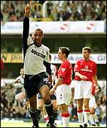 Dean Richards celebrates scoring on his Tottenham debut