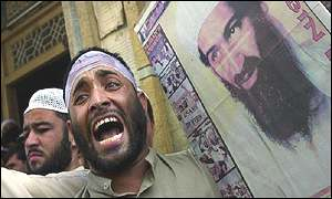 Pro-Bin Laden demonstrator in Peshawar