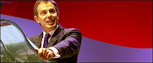Tony Blair MP addressing the Labour party conference, in Brighton, October 2001