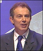 Tony Blair MP, at the Labour Conference in Brighton