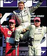 Schumacher and Coulthard give Hakkinen a lift