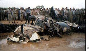 Wreckage of the plane which crashed, killing Scindia and all others on board
