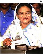 President of the Awami League, Sheikh Hasina