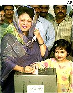 Bangladesh Nationalist Party Chairperson Khaleda Zia, left, with her granddaughter in Dhaka