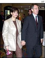 Cherie and Tony Blair arrive in Brighton on Monday