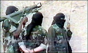 Alleged Bin Laden training video, showing his fighters in Afghanistan