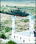 A US military helicopter flies over Somalia
