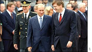President Putin (centre) and Belgian Prime Minister Guy Verhofstadt (right)