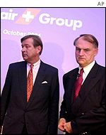 Marcel Ospel, chairman UBS, and Mario Corti, Swissair chairman