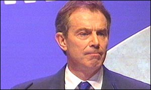 British Prime Minister Tony Blair at his party conference