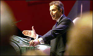 Prime minister Tony Blair addressing the Labour party conference